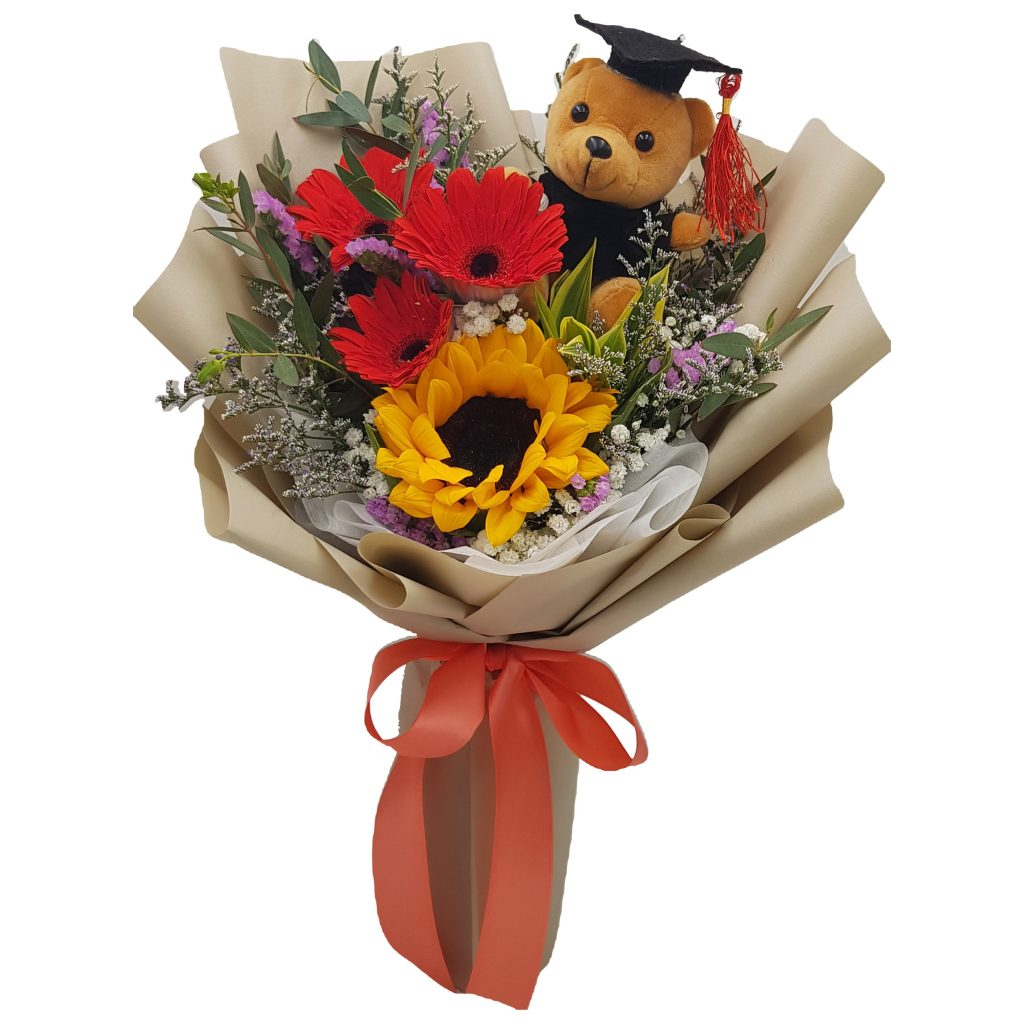 Graduation Bouquet with Sunflowers, Gerbera and Graduation Bear (IDOFlower)