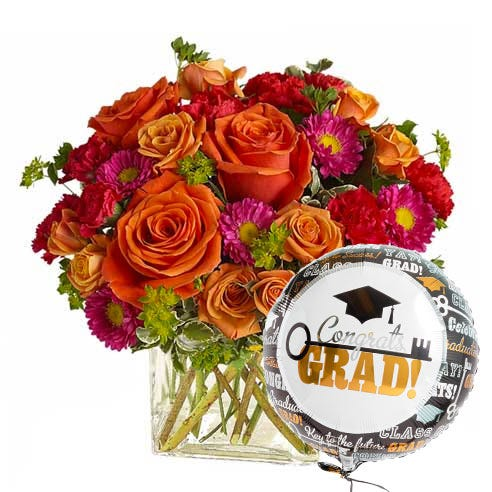 Graduation Day Flowers And Balloon (Send Flower)