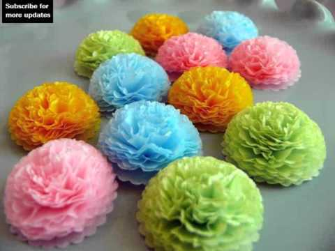 Tissue Paper Flowers Craft Ideas (YouTube)