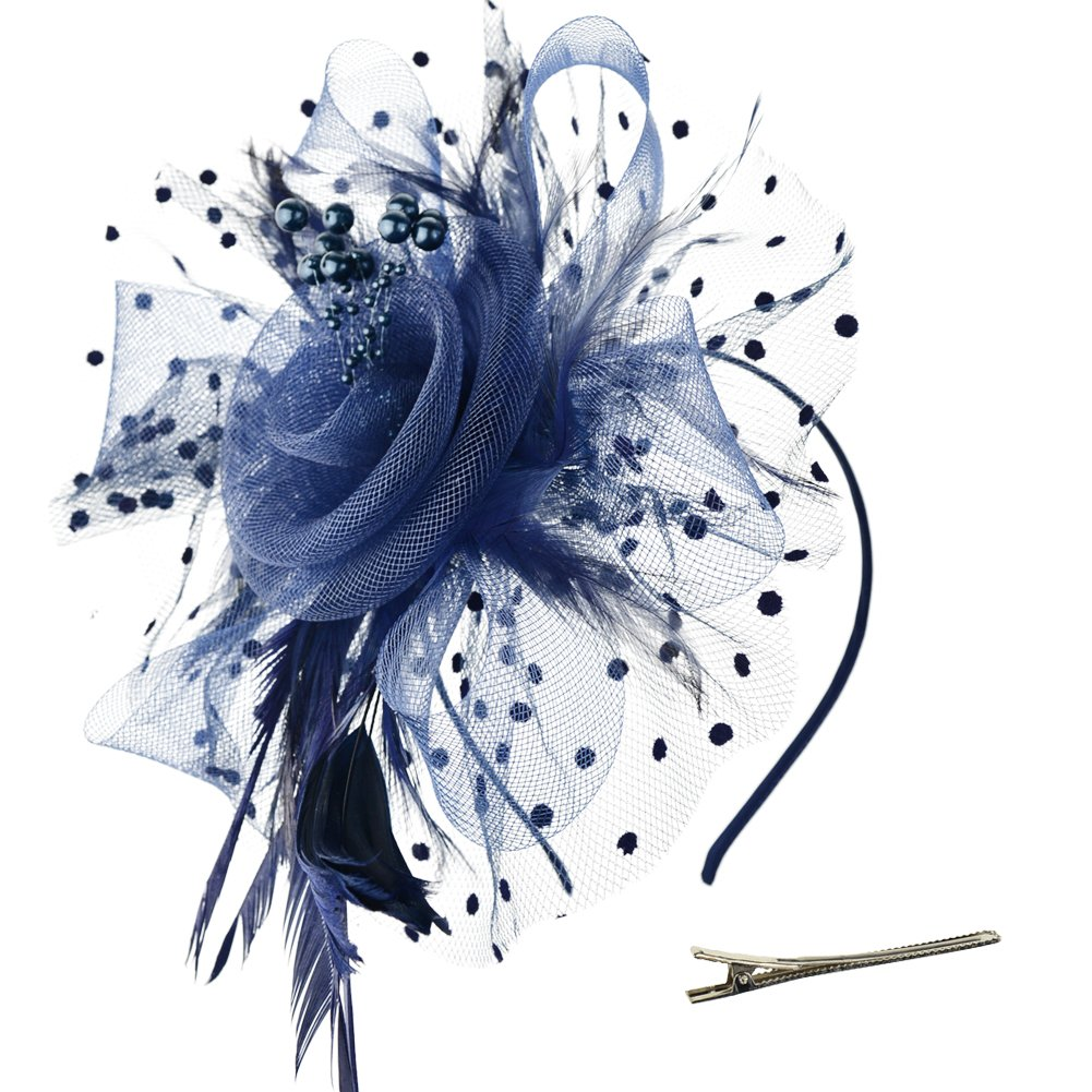 Feathers add a soft, elegant touch to the flower clip (Amazon)