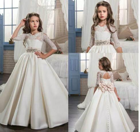 Satin Beaded A-Line Dress - Colorful Flower Girl Dresses (Luulla)